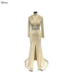 Yybride v-neck mangas compridas miçangas vestidos de baile sob medida vestidos de ocasião sereia cristais champanhe vestidos de noite