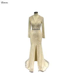 yybride V-neck Long Sleeves Beading Prom Dresses Bespoke Occasion Dresses Mermaid Crystals Champagne Evening Dresses