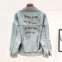 2020 Autumn Fashion Back Letter Graffiti Hot Drill Jeans Jacket Women Coat Stree