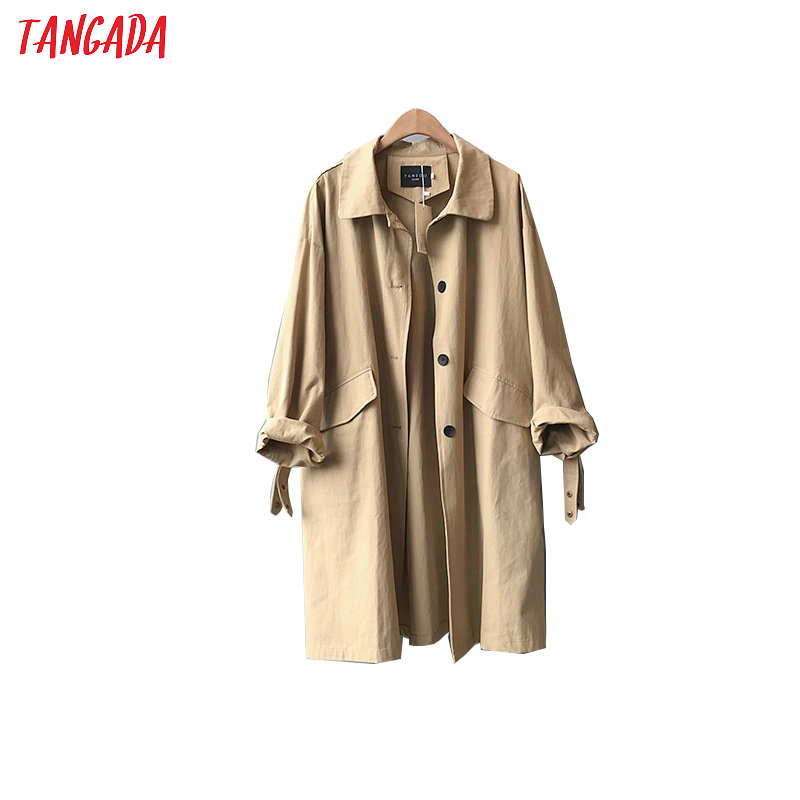 Tangada Women Oversized Khaki Long Trench Coat 2020 Fashion Elegant Long Sleeve Ladies High Street Loose Outwear ASF02
