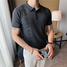 High Quality Summer Diamond Grid Knitted Polo Shirt Men Clothing 2021 Short Sleeve Turn Down Collar Slim Fit Stretched Polos 3XL