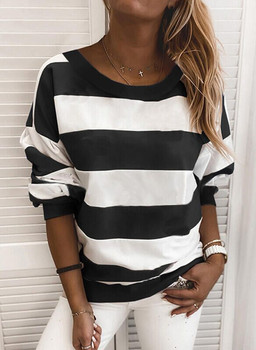 Women Horizontal Stripes Pullover Top Fashion Casual Long Sleeve Round Neck Sweatshirts Autumn Winter Loose Clothing For Women winter star print round neck women pullover tee long sleeve loose clothes women