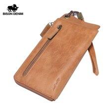 BISON DENIM Genuine Leather Wallet Men Vintage Long Clutch B