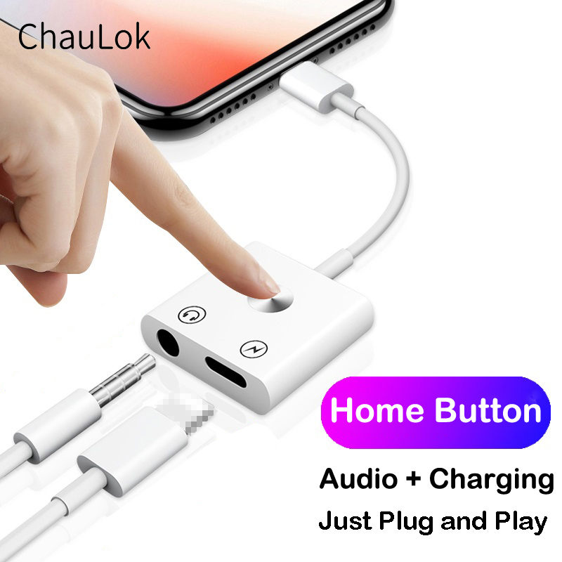 2 In 1 Audio Charging Adapter With Home Button For IPhone 11 Pro X XS Max XR For 8pin To 3.5mm Headphone Audio Jack Splitter