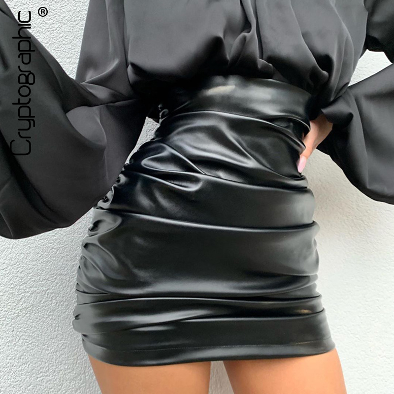 Cryptographic Ruched PU Leather Black High Waist Skirt Sexy Party Club Streetwear 2020 Spring Summer Mini Skirts Bodycon Summer