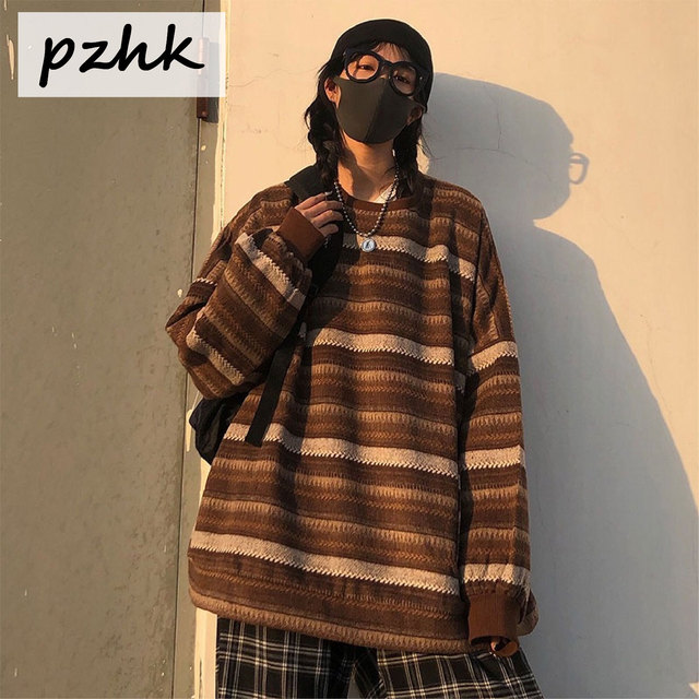 Pullovers Women Oversize Sweater Winter  Warm Ulzzang BF Unisex Couples Casual Striped Knit Sweater Hip Hop Fashion Retro Daily