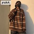 Пуловеры для женщин, Свитер оверсайз, зимний теплый Ulzzang BF унисекс парный Повседневный полосатый вязаный свитер в стиле хип-хоп, модный ретр...