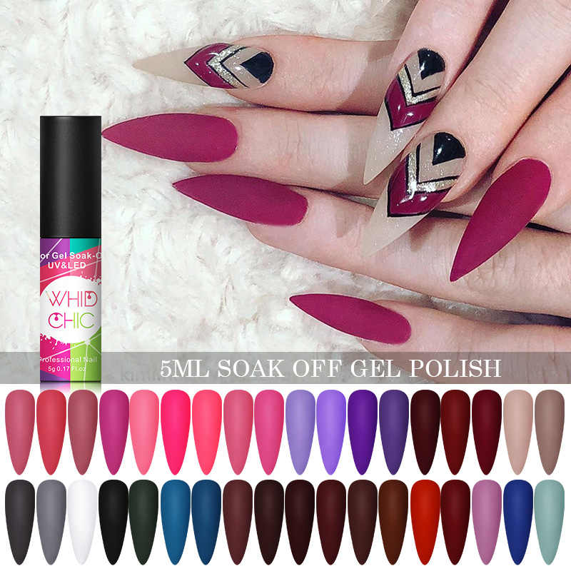 WHID Chic 5 Ml Matte Uv Gel Cat Kuku Warna Gel Tahan Lama Perlu Matte Top Coat Rendam Off paku Seni Sinar UV LED Gel Varnish