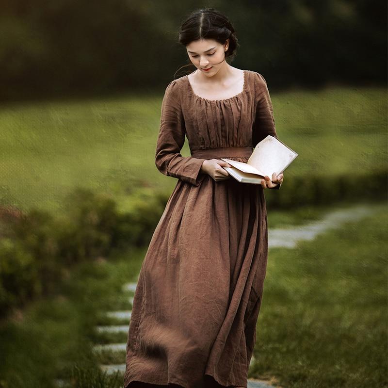 Женское длинное льняное платье, элегантное кофейное винтажное платье с длинным рукавом и высокой талией, весна-осень 100%