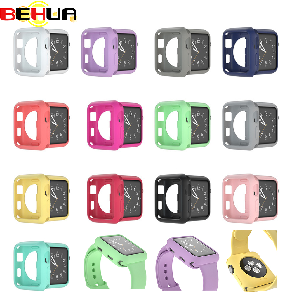 Soft Silicone Cover For Apple Watch Series 1 2 3 Back Case Shockproof Full Protection 42mm 38mm Watch Protective Cases Coque