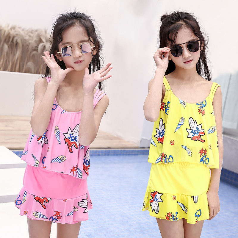 New Style Girls Cute Big Boy Two-piece Swimsuits South Korea Hipster Princess Bathing Suit Hot Springs Graceful Tour Bathing Sui