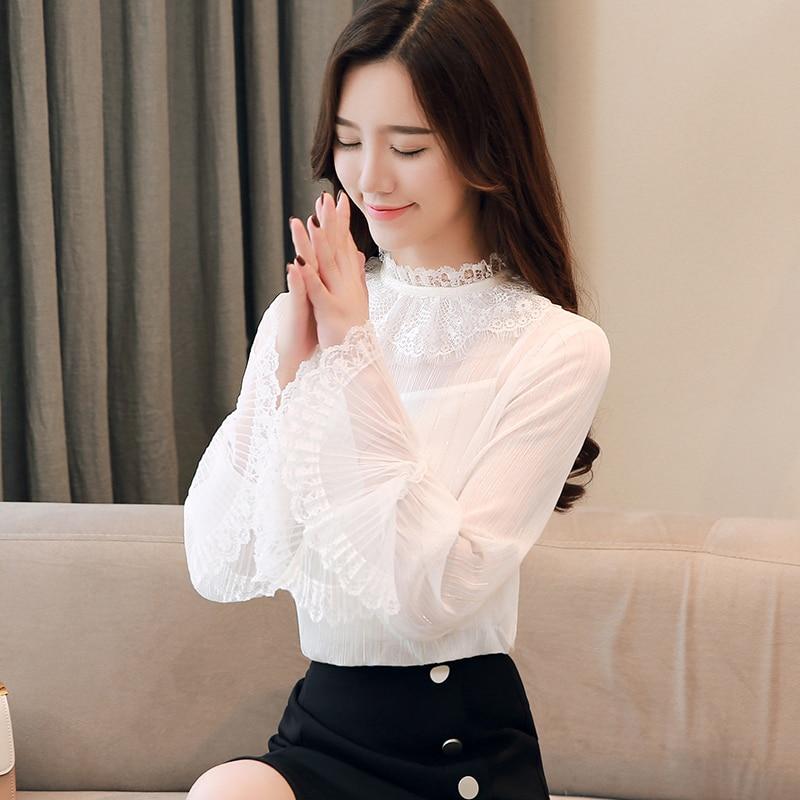 Korean Fashion Chiffon Women Blouses Lace Flare Sleeve White Women Shirts Plus Size XXL Blusas Femininas Elegante Ladies Tops in Blouses amp Shirts from Women 39 s Clothing