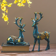 2pc/Set Resin Deer Statue Creative Modern Elk Figurine Model Crafts for Home Decoration Accessories Store Office A