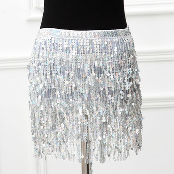 Sparkle Sequins Sexy 2 Piece Outfits Backless Low Cut Bra Crop Tops Bandage Long Tassel Mini Skirts Women Clubwear Matching Sets 4