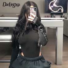 Darlingaga Steetwear Reflective Stripe Party Bodysuit Women High Cut Body Bodycon Letters Long Sleeve Bodysuits Skinny Jumpsuit