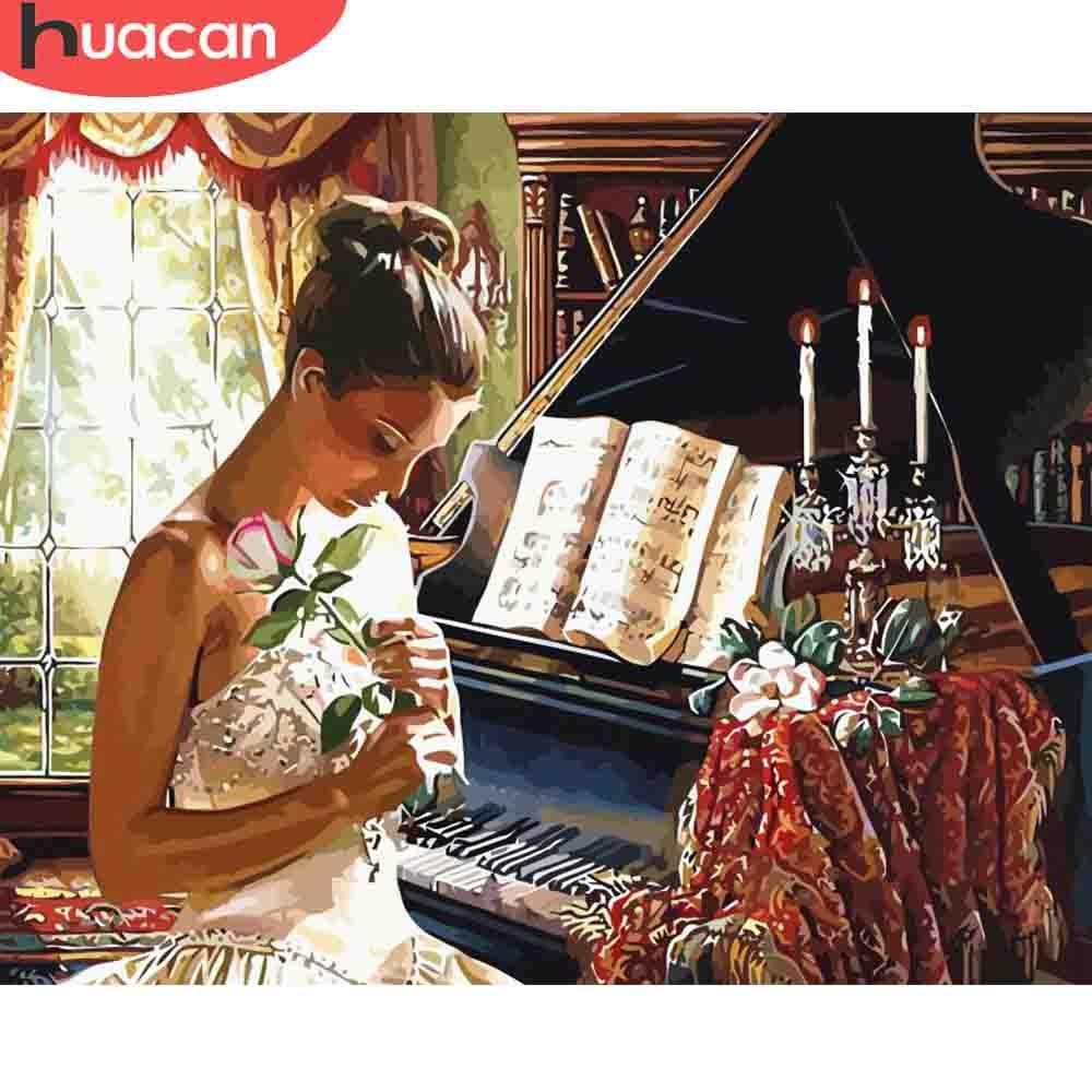 HUACAN pintura por números chica pintada a mano Piano dibujo sobre lienzo arte regalo DIY imágenes por número Kits decoración del hogar
