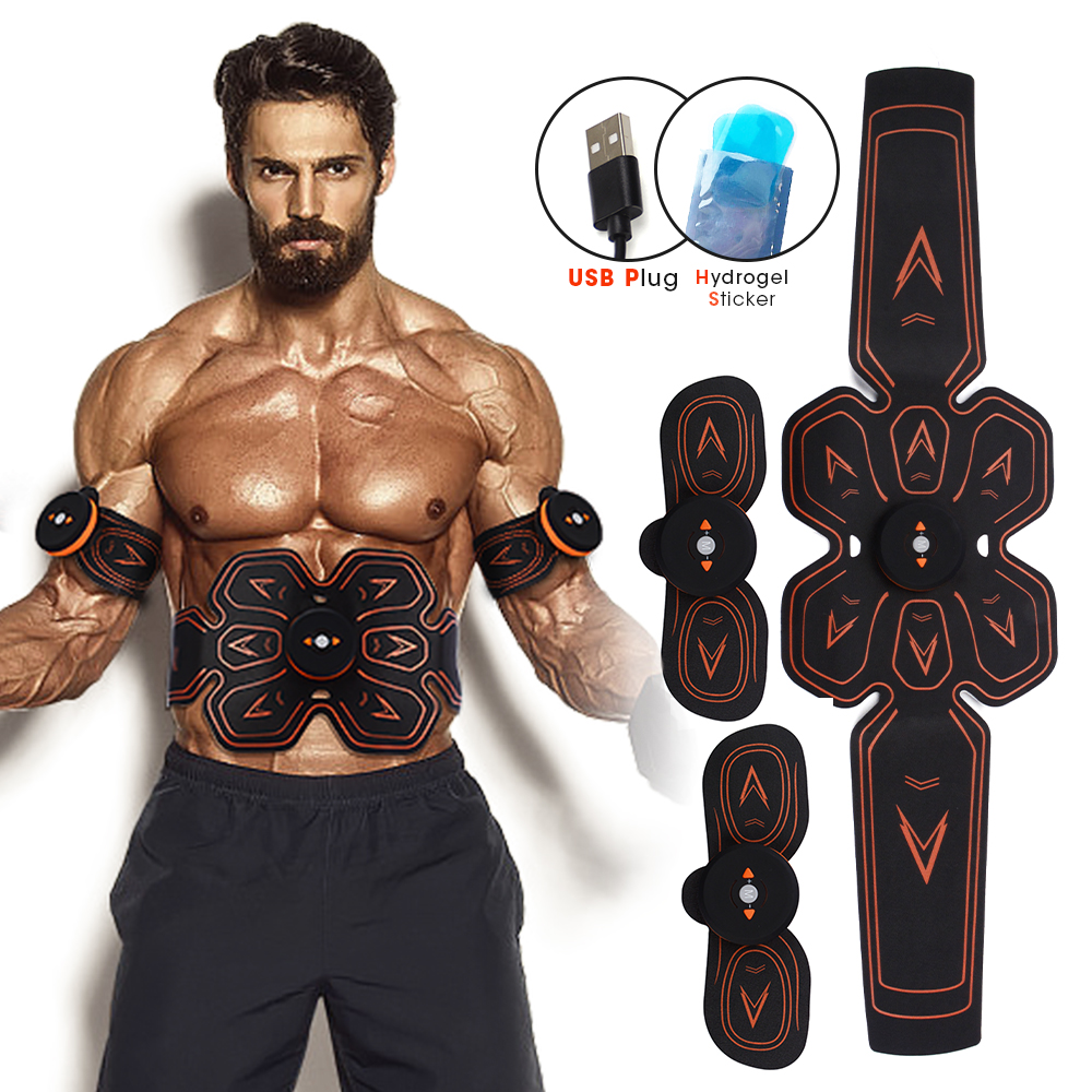 ABS/EMS Electric Muscle Stimulator Smart Fitness Abdominal Training Weight Loss Stickers USB Rechargeable Muscle Fitness Machine