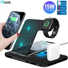 15W 4 in 1 Wireless Charger Dock Station for Airpods Pro Apple Watch 5 4 3 2 Qi Fast Charging Stand Pad For iPhone 11 XS XR X 8