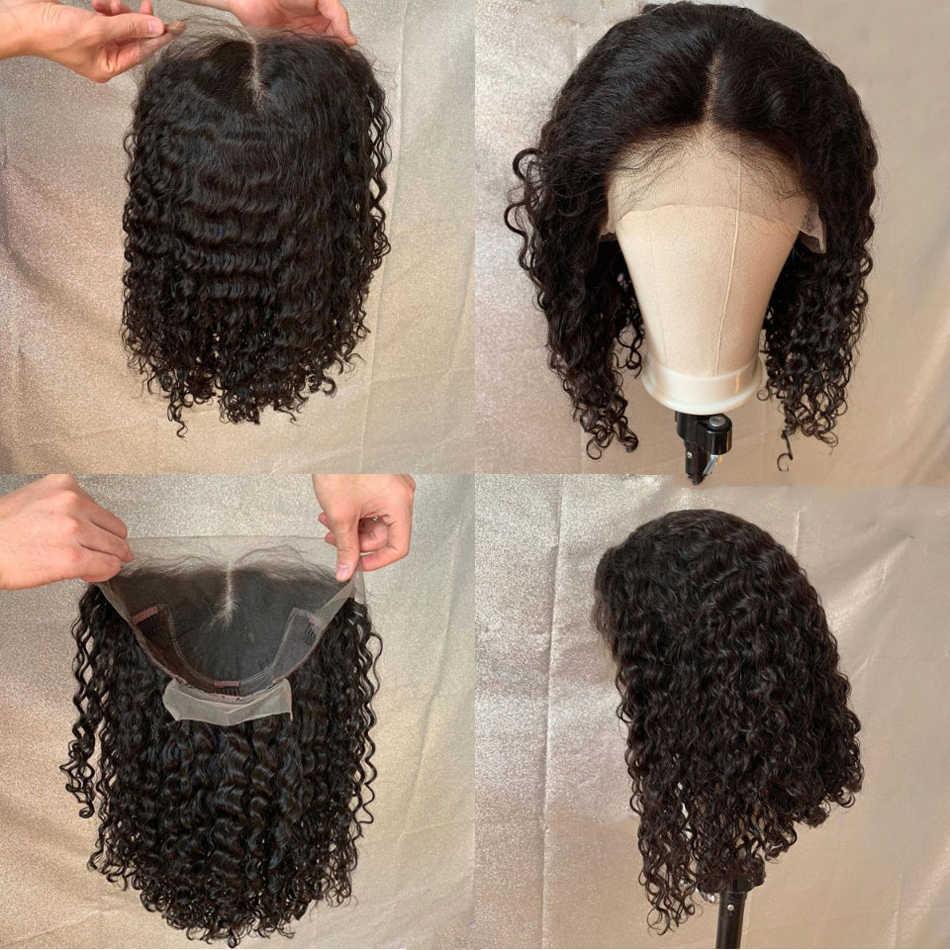Kręcone koronki przodu peruki z ludzkich włosów wstępnie oskubane kręcone Bob peruka 150 gęstości Bob koronkowa peruka na przód dla kobiet PrePlucked peruka z mocnymi lokami