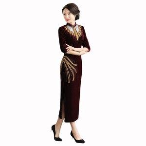 Image 5 - Stil gold samt cheongsam retro verbesserte nail bead lange Hochzeit Toast große größe senior high end fabrik direkt verkäufe