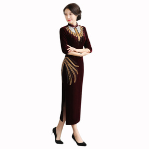 Image 5 - style gold velvet cheongsam retro improved nail bead long Wedding Toast large size senior high end factory direct sales