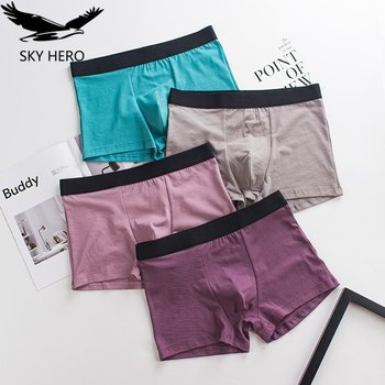 4Pcs/lot Men Boxer Underwear Cotton Mens Boxers Underpants Breathable Boxershorts Cueca Male Panties Man 2020 New Fashion - discount item  50% OFF Men's Underwears