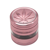RICH DOG Aluminum Herb Grinder With Large Window 63MM 4 Piece CNC Teeth Metal Smoking Tobacco Grinder Smoke Pipe Accessories