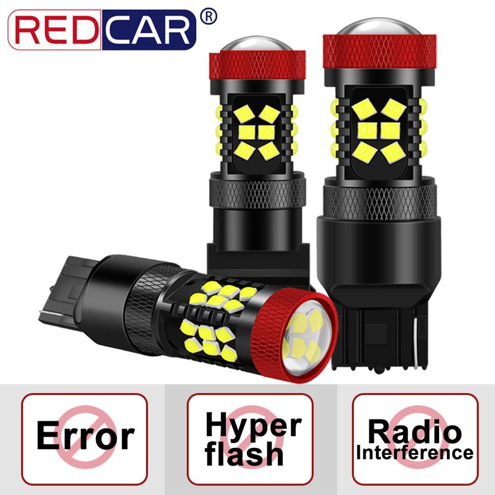2 шт. Canbus T20 светодиодные лампы 7440 W21W Led 7443 W21/5 Вт не Hyperflash светильник T25 3157 P27/5 Вт 3030 автомобильные светодиоды с чипом тормозной фонарь светильн...