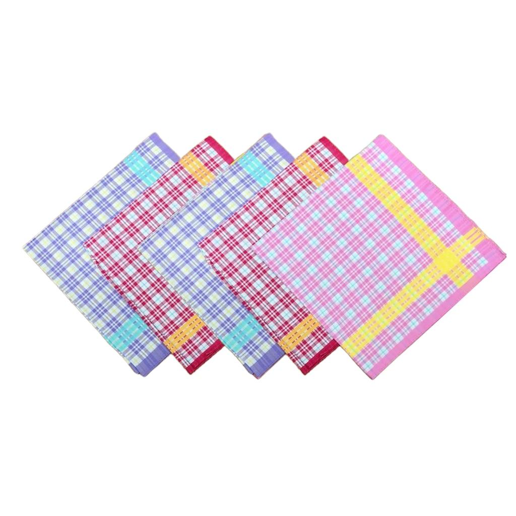 5pcs 100% Cotton Plaid Printed Handkerchiefs Lady Wedding Hankie Kerchiefs