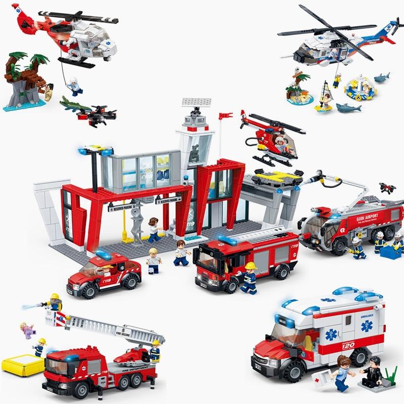 2019 NEW GUDI City Fire Sets Series Station Ladder Truck Building Blocks Bricks Classic Model Kids Toys For Children