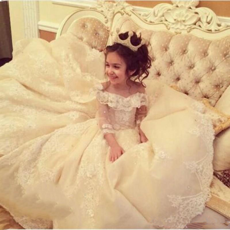 2019   Flower     Girl     Dresses   For Weddings Ball Gown 3/4 Sleeves Tulle Appliques Beaded Long First Communion   Dresses   Little   Girl