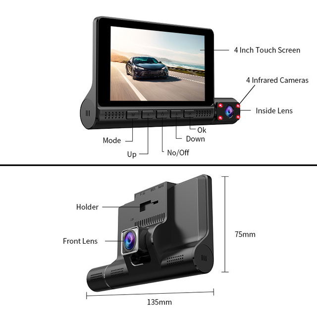 "4"" LCD Dash Cam Car DVR 24h Parking Monitor 1080P Night Vision Dashcam Auto Video Recorder with 720P Rear Camera 3 Lens G-Sensor 3"