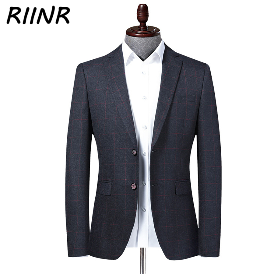 Riinr 2020 Spring Autumn New High Quality Men's Suit Fashion Slim Suit Men Blazer Jacket Male Business Casual Clothing M-4XL