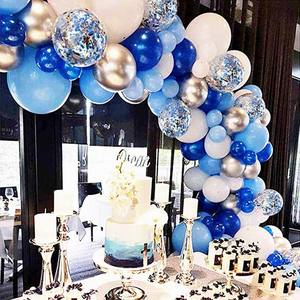 Image 2 - 134pcs Blue Balloon Garland Arch Kit White Grey Blue Confetti Latex Balloons Baby Shower Wedding Birthday Party Decorations