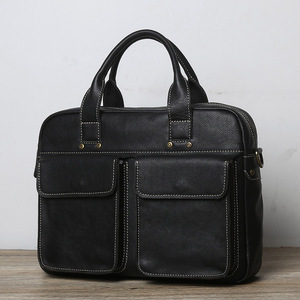 Casual Men's Handbag Genuine Leather Business Men Briefcase Big Shoulder Bags Messenger Document Bag For 14 Inch Laptop NUPUGOO