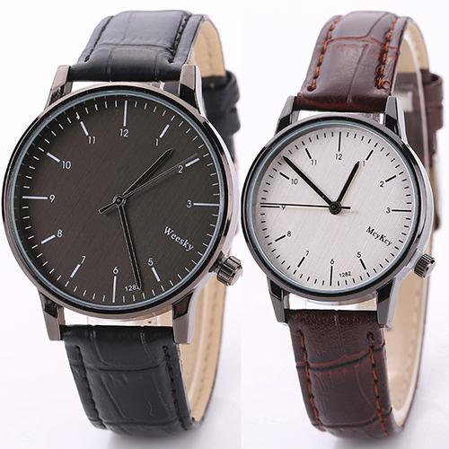 Creative Simple Designed Frosted Dial Quartz Watch Unisex Solid Color Black Round Case Wrist Watch Comfortable Band Gift