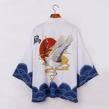 Japanese Flying Cranes Print Kimono Cardigan Cloak Jacke Top Blouse Loose Casual Fashion Plus Oversized Quick Dry image