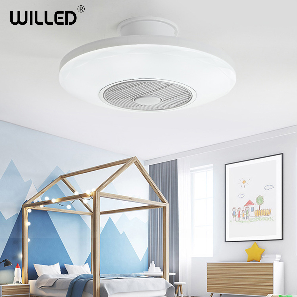 Led Ceiling Fan With Light Remote Control 110v 220v Bedroom Lamps Children Room Home Restaurant 40w 50cm Three Color Changing