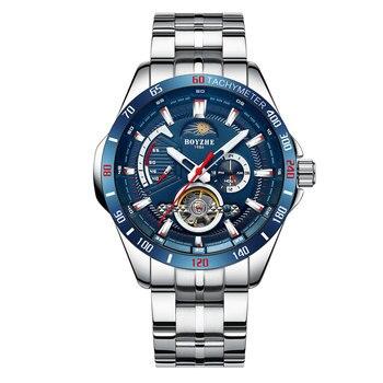 New Blue surface tourbillon watch men automatic mechanical watch man waterproof watches fashion luminous moon phase clock sports