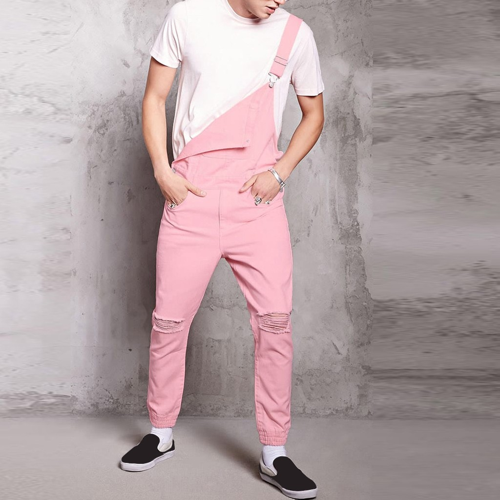 Men Hole Pocket Jeans Overall Jumpsuit Streetwear Overall Suspender Pants Hot Pink Cute Boy Joggers Plus Size Pantalon Homme 3XL