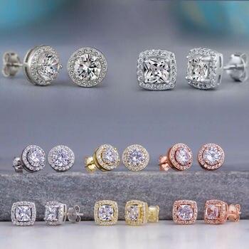 Huitan Fashion Geometric Women Stud Earrings Cubic Zirconia Wedding Party Daily Wearable Fashion Jewelry Hot Dropshipping