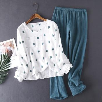 KISBINI 2020 Fashion pajamas for women spring cotton washed gauze long-sleeves shirt +pants women printed pajamas homewear stylish monkey king printed t shirt and pencil pants twinset for women