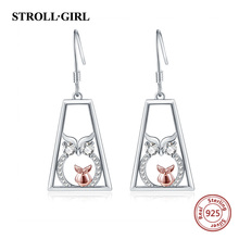 Strollgirl authentic 100% 925 sterling silver earrings lovely owl drop for women fashion jewelry