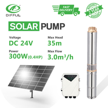 цена на 3 DC Deep Well Solar Water Pump 24V 300W Submersible MPPT Controller Bore Hole Irrigation Kits (Head 35m, 3000L/H)