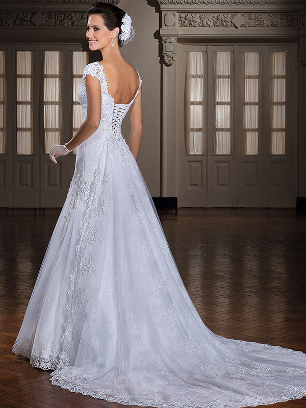 Designer Lace Appliques V Neckline Cap Sleeves Mermaid Elegant Wedding Dresses Bridal Gowns Vestido de noiva 2015 i0086
