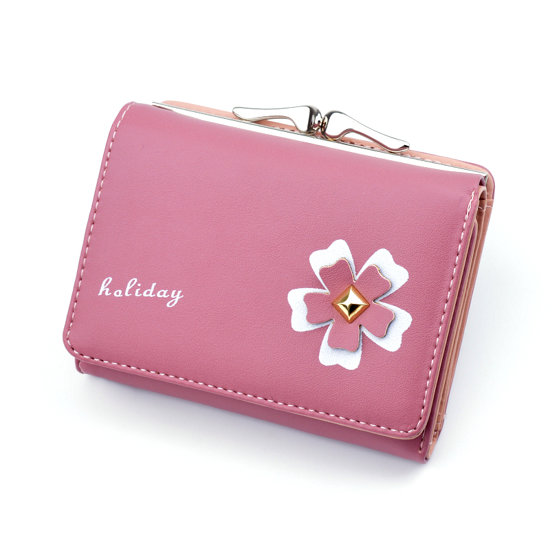 2020 Women's Short Wallet New Korean Folding Coin Purse Female Student Small Fresh Mini Clutch Card Bag Coin Purse