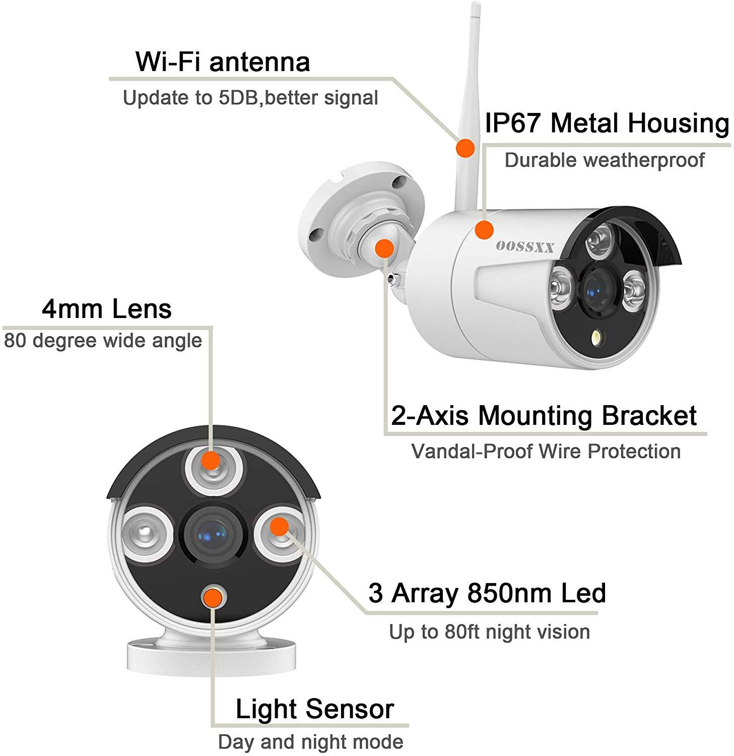 OOSSXX 8CH Wireless NVR Kit CCTV Camera System 6pcs 1080P 2.0MP Indoor Outdoor IP Security Camera Wifi Video Surveillance System