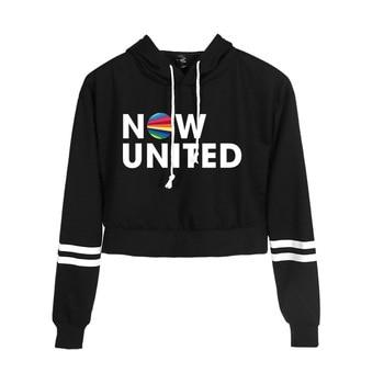 New Korean Fashion Kpop Clothes Now United Hip Hop Crop Top Hooded Hoody Female Harajuku Cropped Hoodie Sweatshirts Pullovers недорого