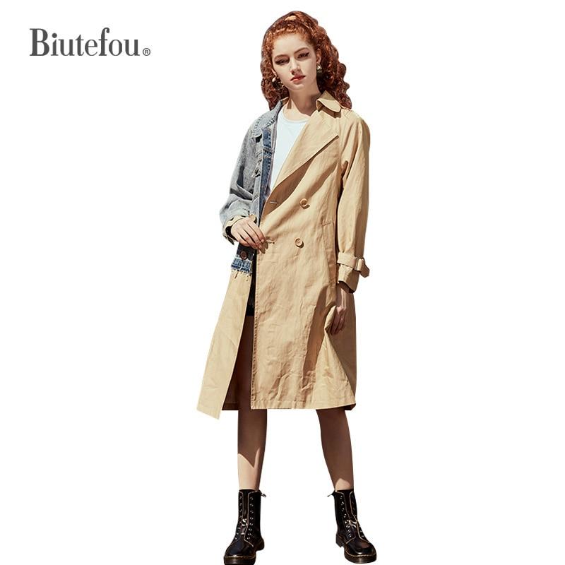 2020 Spring and summer long thin coats denim patch design women windbreaker Outerwear
