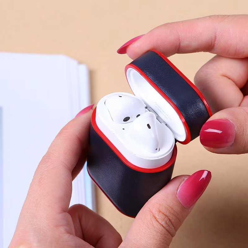 Funda de cuero de lujo para Airpods PU + funda de PC para auriculares Bluetooth